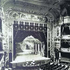 An old picture of the Festival Theatre in black and white