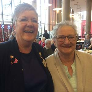 Maxine Regan and Sandra Brown smiling
