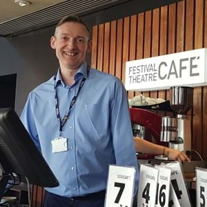 Portrait of Matthew in the Festival Theatre Cafe